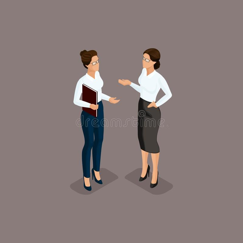 People Isometric 3D, business woman, business clothes, beautiful shoes. The concept of office workers, director scolds secretary. Isolated on a dark background vector illustration