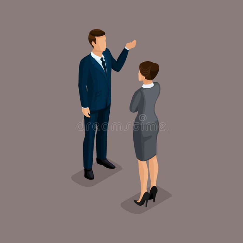 People Isometric 3D, isometric businessman and business woman, business clothes. Concept discussion, brainstorming isolated on a. Dark background of a noble royalty free illustration