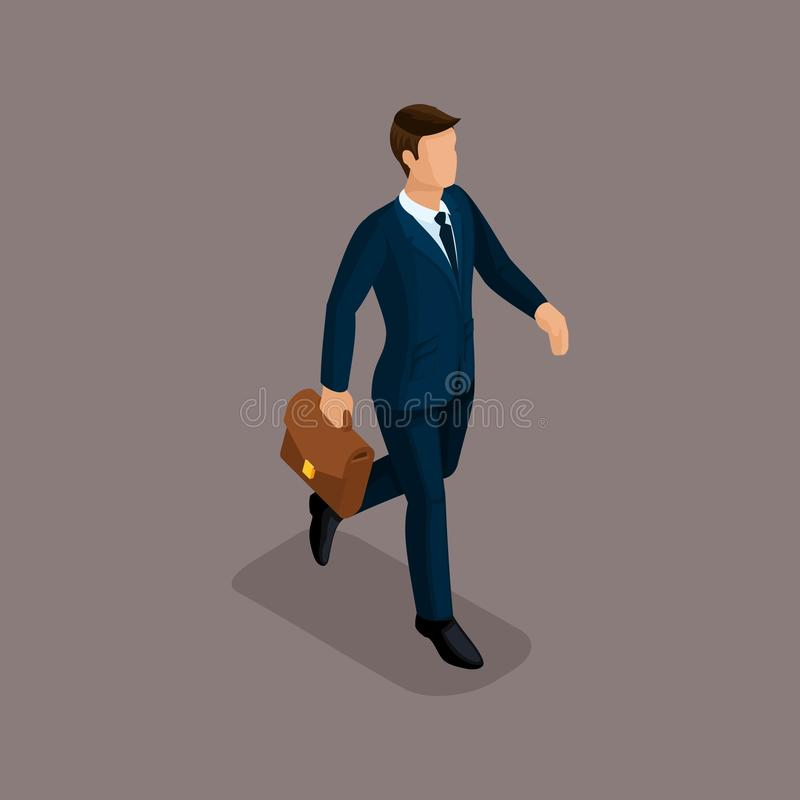 People Isometric 3D businessman in a hurry, there is a fast pace with a briefcase isolated on a dark background of a noble royalty free illustration