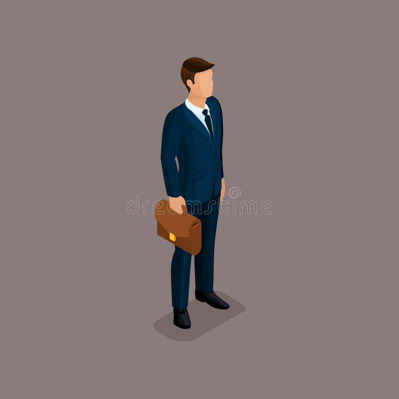 People Isometric 3D businessman quencies, in the business of corporate clothing with a briefcase isolated on a dark background of. A noble vector illustration