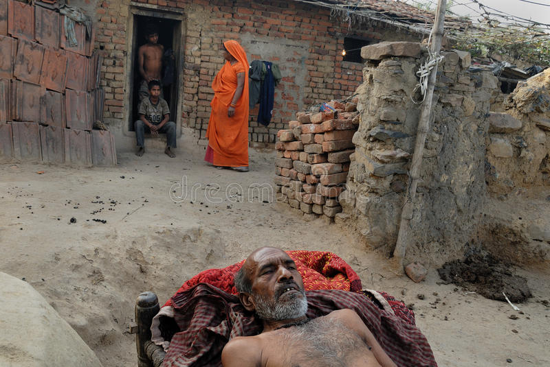 People of the Jharia coalmines area in India. DHANESWAR PANDA 54 years, suffering from lung cancer -residing at Jharia coalfield area.Once he was a coalminers royalty free stock photography