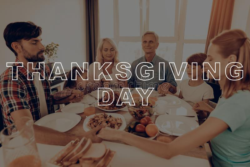 People Joined Hands and Pray. Thanksgiving Day. royalty free stock image