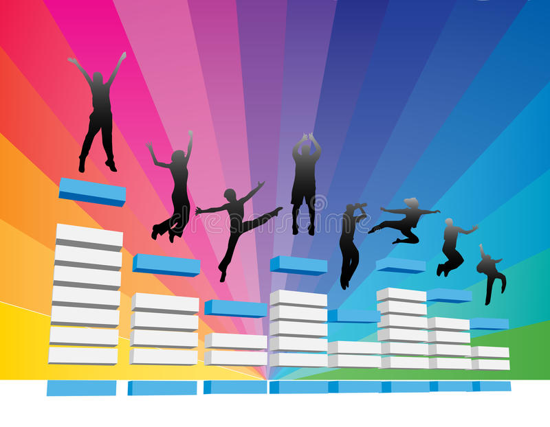 People jump. Vector illustration of people jump on equalizer vector illustration