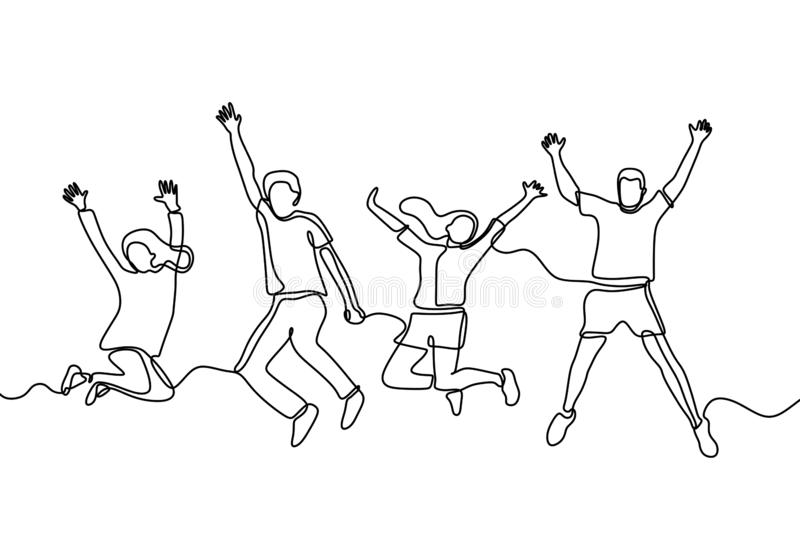 People jump continuous one line drawing happy team members minimalist design on white background. Vector, sketch, success, concept, person, man, crowd, party stock illustration