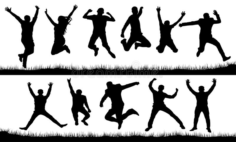 People in a jump silhouette set, vector royalty free illustration