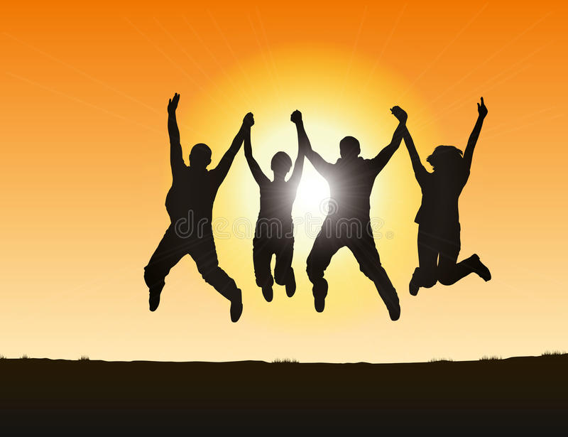 Download People jumping stock vector. Illustration of group, sunset - 11038510