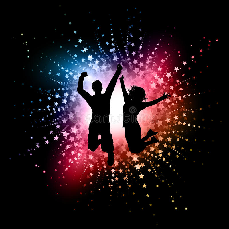 Download People jumping stock vector. Illustration of glowing - 21506149