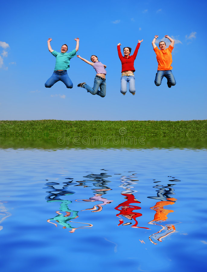 People Jumping Royalty Free Stock Image