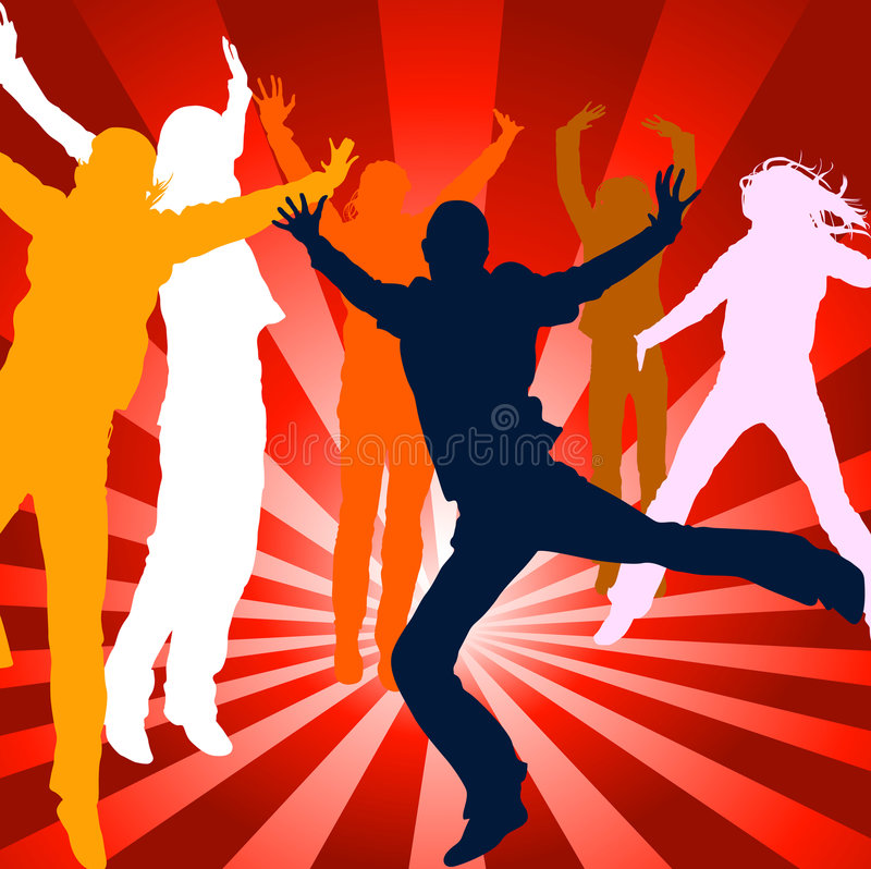 People jumping. Silhouettes of people jumping up in the air royalty free illustration
