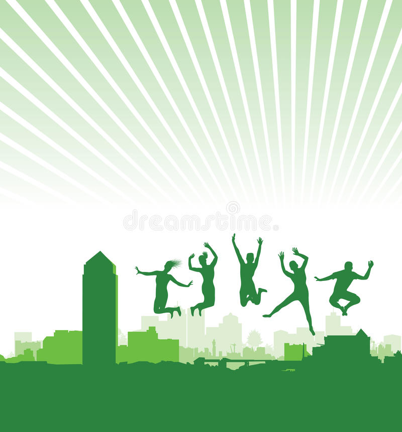 Download People Jumping On A Cityscape Stock Vector - Image: 18877818
