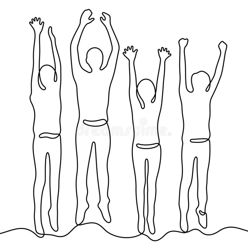 People jumping continuous line vector illustration royalty free illustration