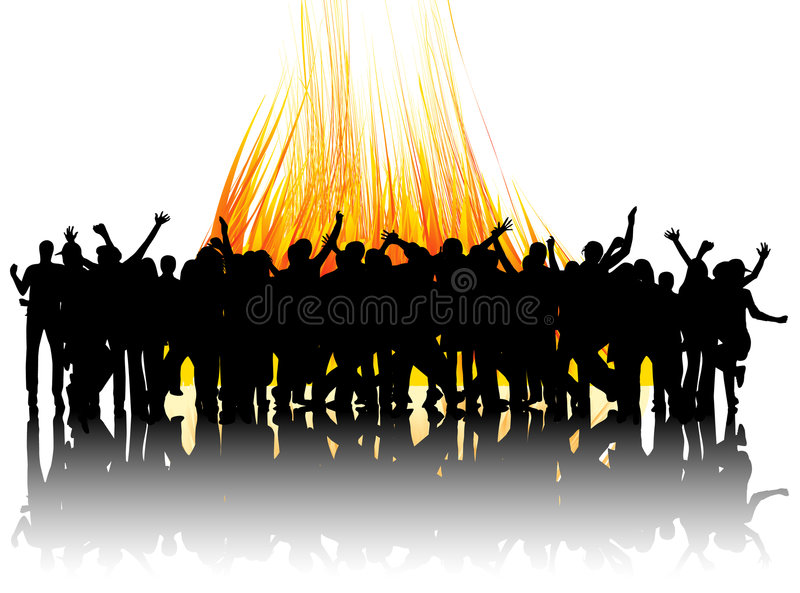People jumping and fire royalty free illustration