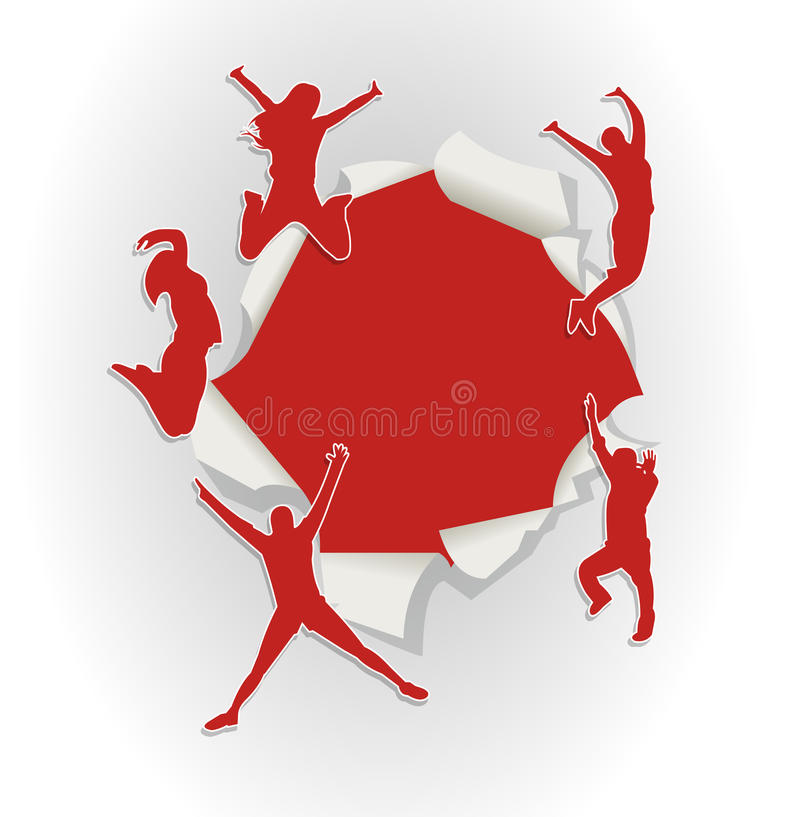 Download People Jumping Out Of Hole In Paper Stock Vector - Illustration: 27711595