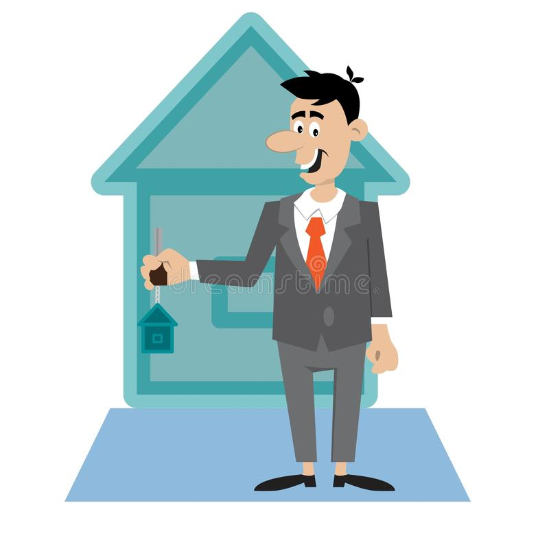 The Apartment People: Real Estate Agent Giving Key To A New House Owner. Stock