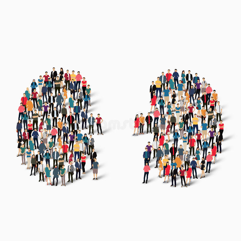 people kidney medicine crowd stock illustration