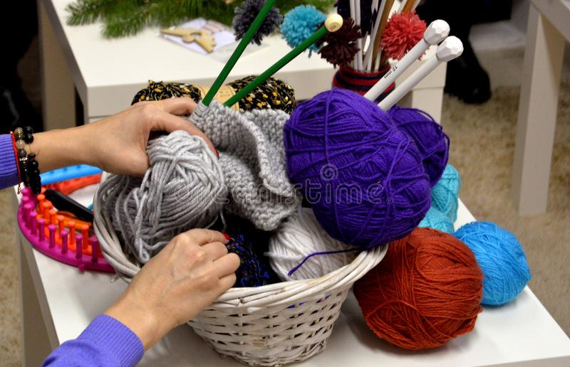 People knit by hand with yarn in Sofia, Bulgaria 2017. People knit by hand with yarn in Sofia, Bulgaria royalty free stock photos