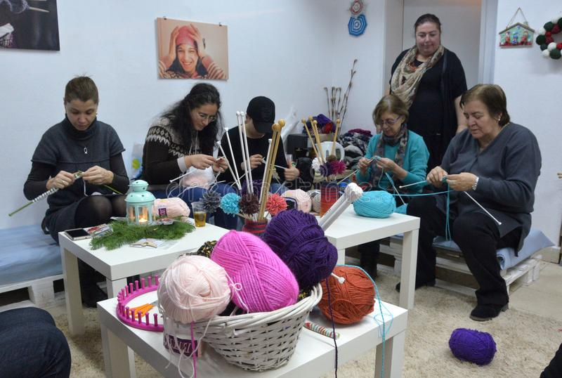 People knit by hand with yarn in Sofia, Bulgaria 2017. People knit by hand with yarn in Sofia, Bulgaria royalty free stock photo