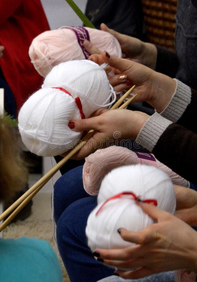People knit by hand with yarn in Sofia, Bulgaria 2017. People knit by hand with yarn in Sofia, Bulgaria stock image