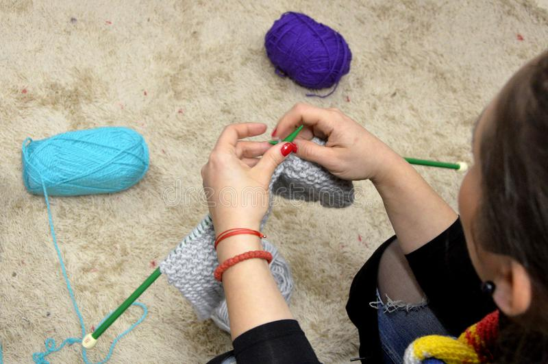 People knit by hand with yarn in Sofia, Bulgaria 2017. People knit by hand with yarn in Sofia, Bulgaria stock photos