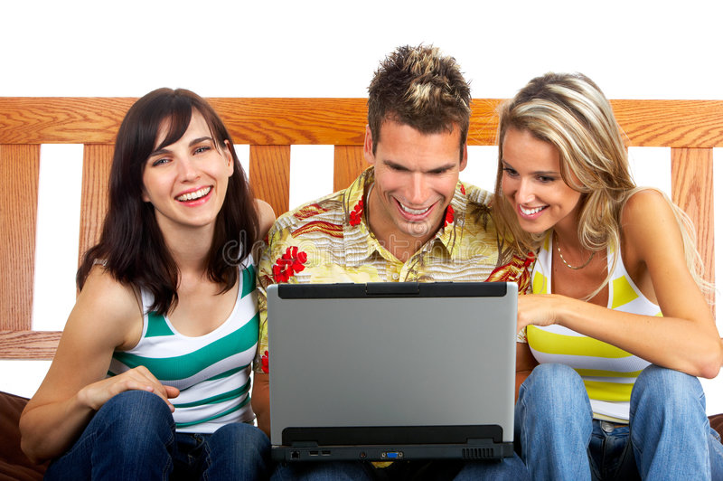 People With A Laptop Stock Photo