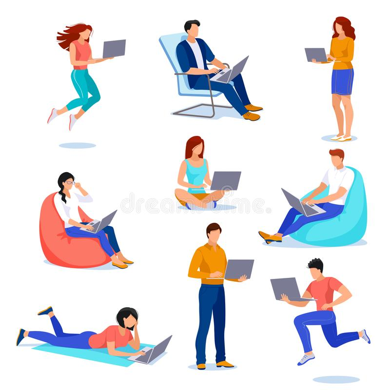 People with laptops in different poses. Vector flat cartoon illustration. Young men and women work using computer royalty free illustration