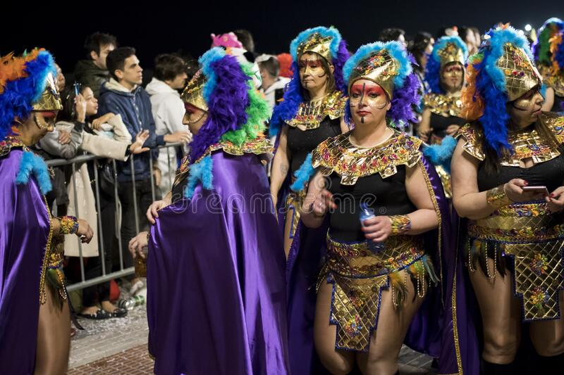 People at last day of Sitges Carnival. Burial Carnestoltes - stock photos