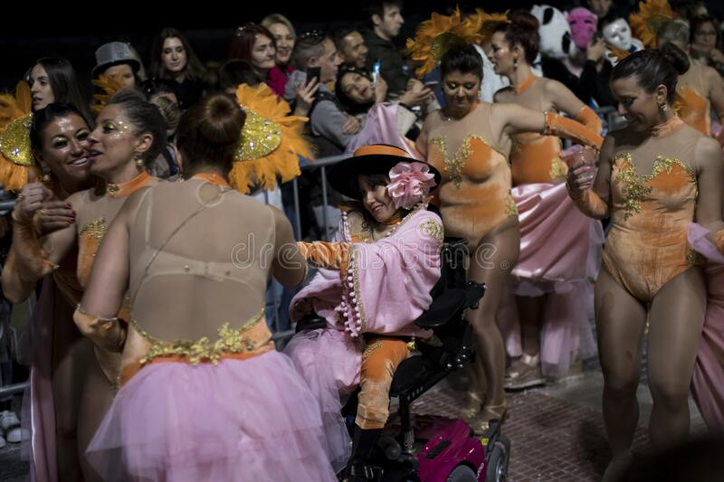 People at last day of Sitges Carnival. Burial Carnestoltes - stock image