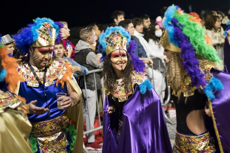 People at last day of Sitges Carnival. Burial Carnestoltes - royalty free stock photography