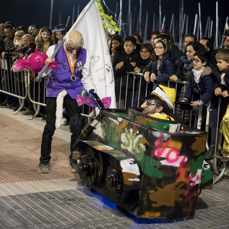 People at last day of Sitges Carnival. Burial Carnestoltes - royalty free stock images