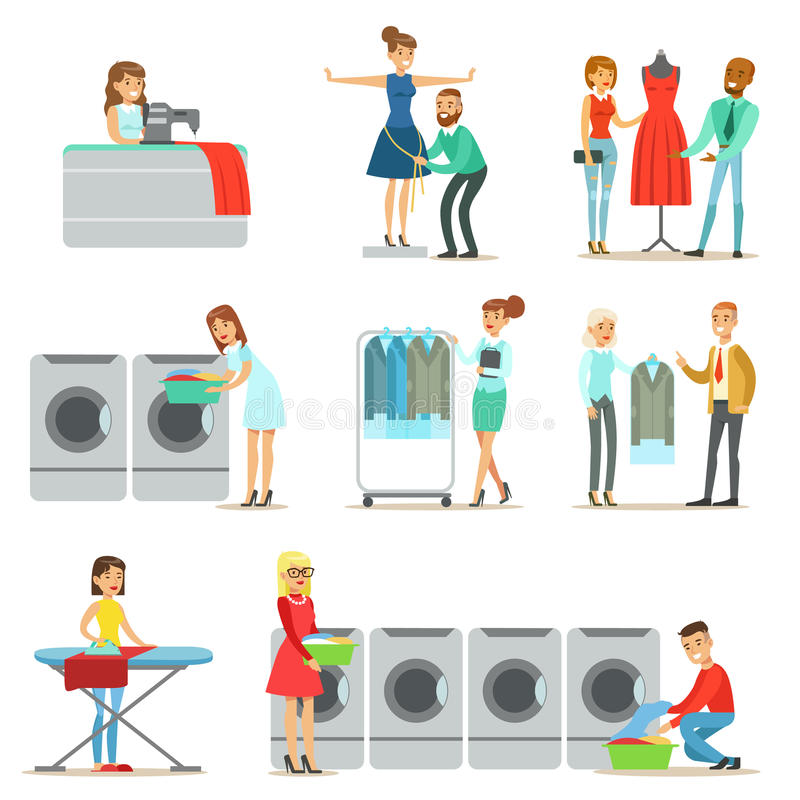 People At The Laundry, Dry Cleaning And Tailoring Service Collection Of Smiling Cartoon Characters. Men And Woman Washing Their Clothes In Washing Machines And vector illustration