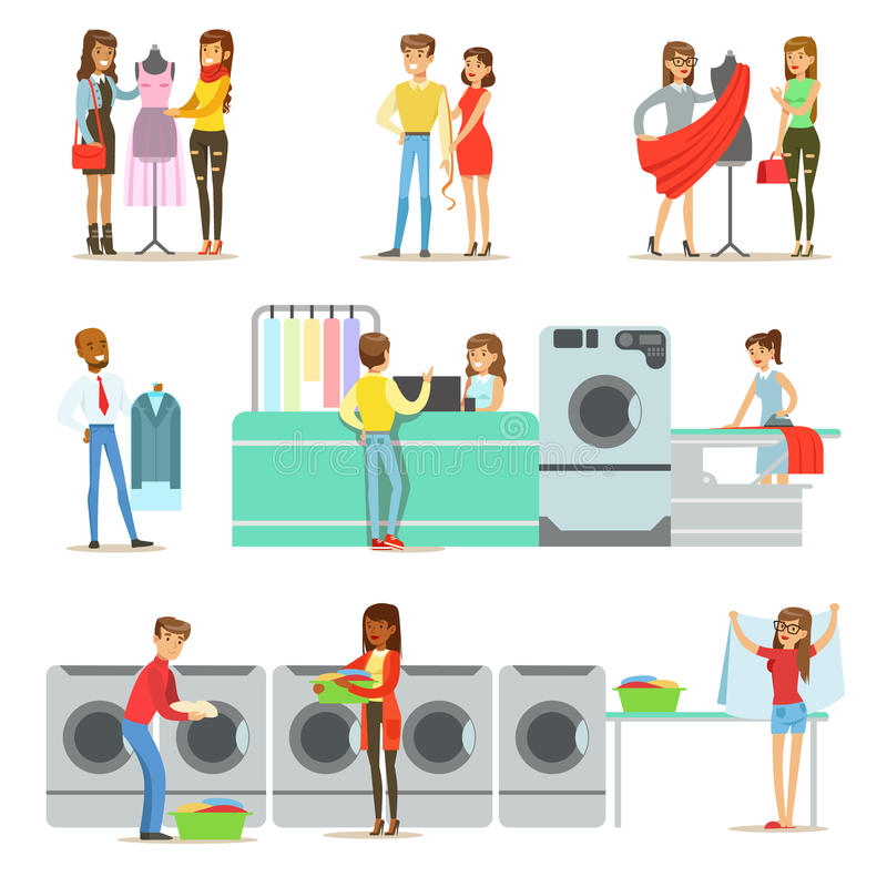 People At The Laundry, Dry Cleaning And Tailoring Service Set Of Smiling Cartoon Characters. Men And Woman Washing Their Clothes In Washing Machines And Using vector illustration