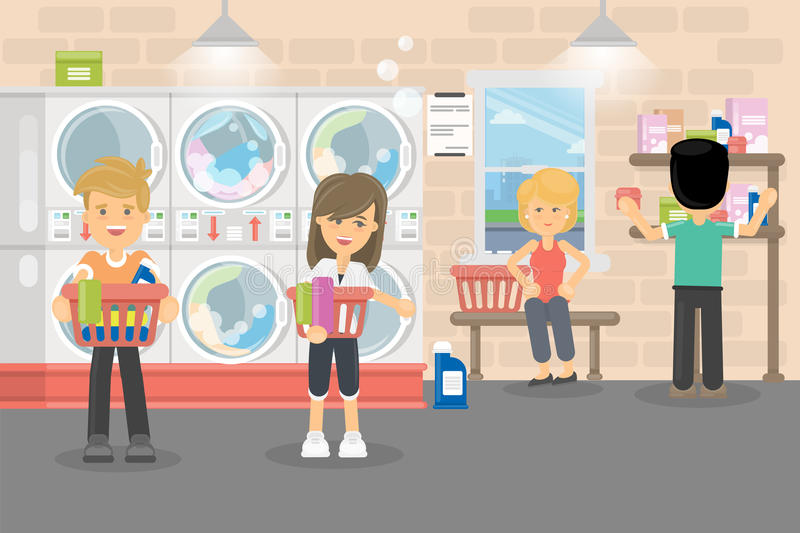 People in laundry service. Men and women wash their clothes in washing machines vector illustration