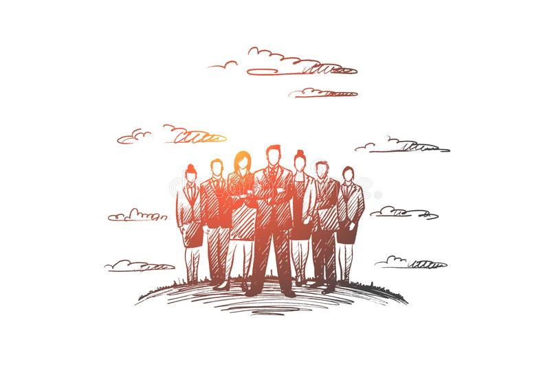 People leader concept. Hand drawn isolated vector. People leader concept. Hand drawn group of business people with leader at front. Successful businessman vector illustration