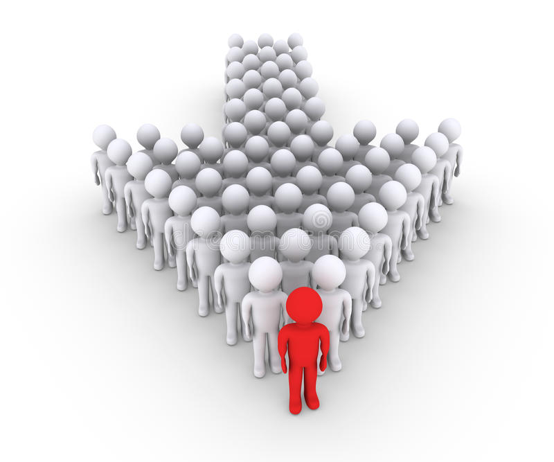 People with leader in front form an arrow stock illustration