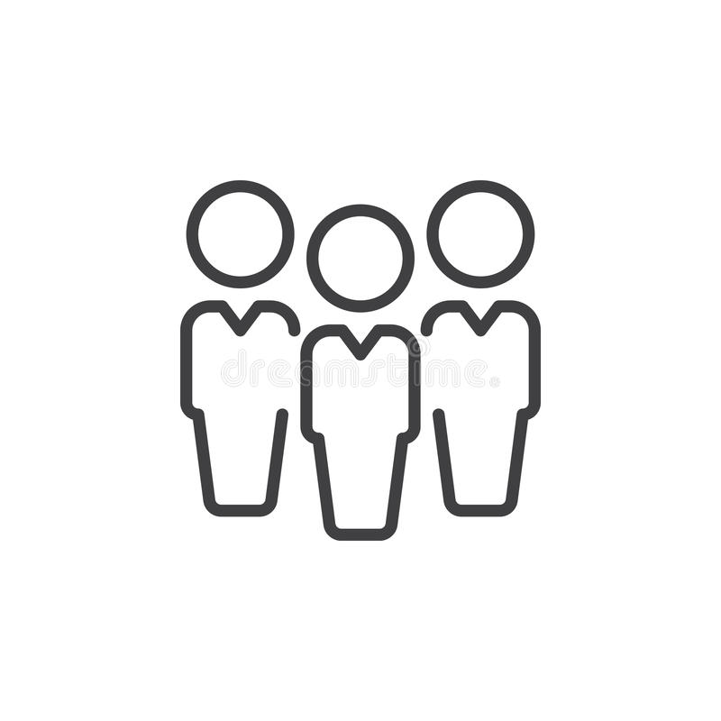 People, leadership line icon, outline vector sign, linear style pictogram isolated on white. Symbol, logo illustration. Editable stroke. Pixel perfect stock illustration