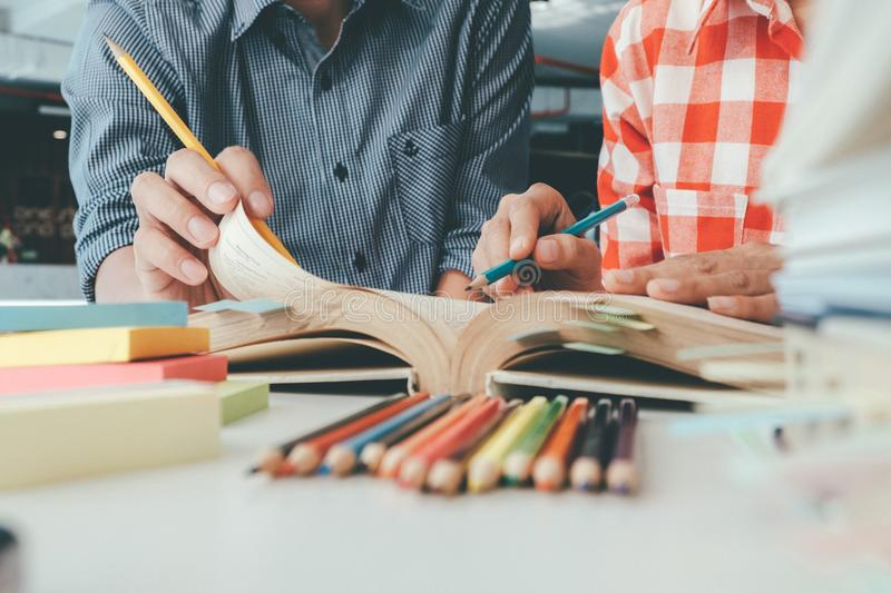 People, learning, education and school concept. stock photos