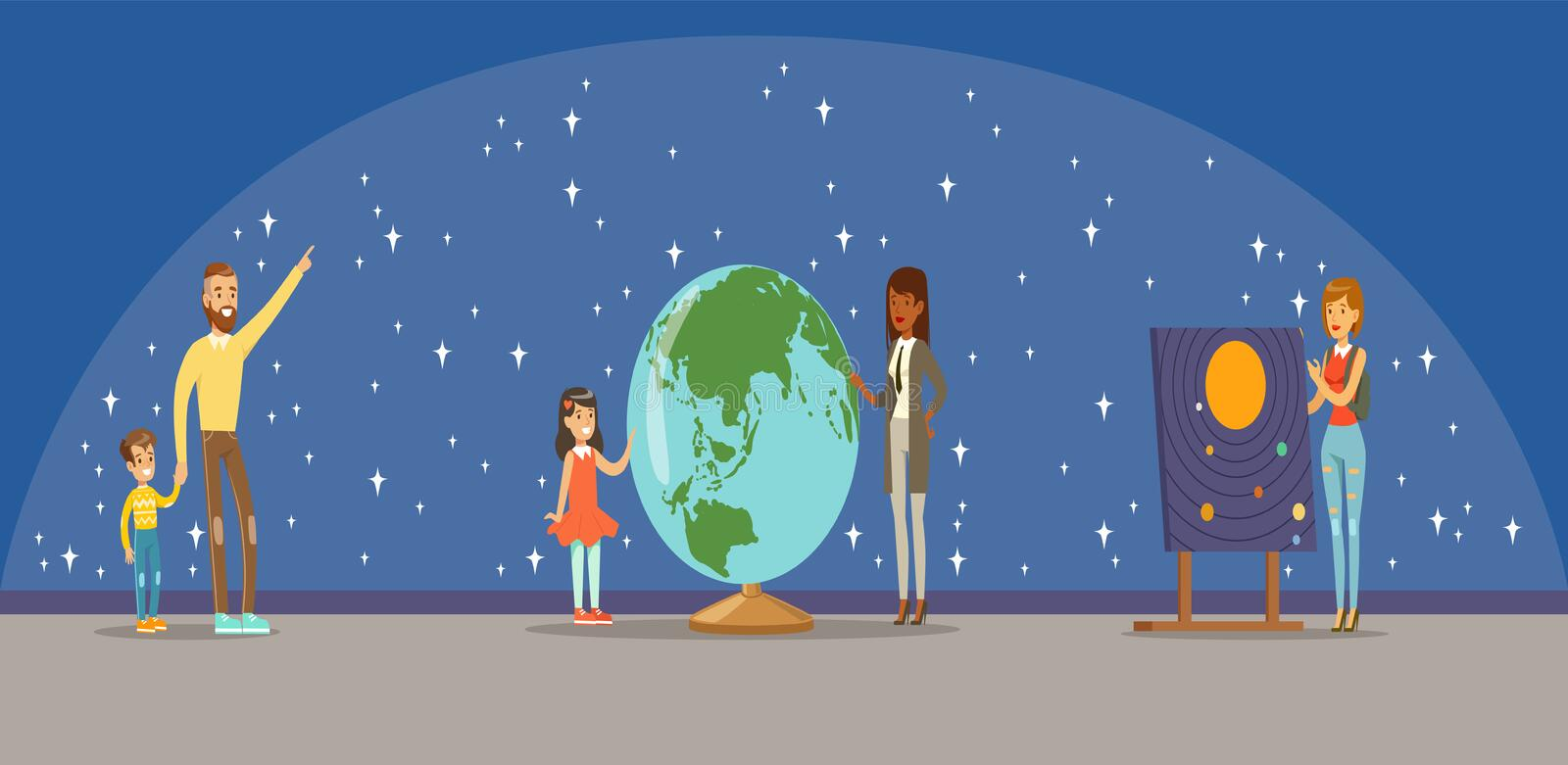 People learning about the stars, planets and the solar system at the planetarium. Horizontal vector Illustration vector illustration