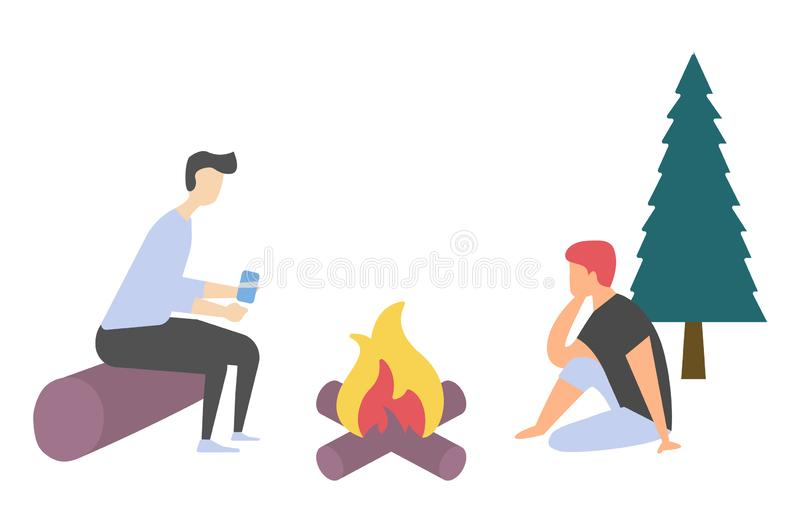 Friends near Bonfire, Leisure and Picnic Vector. People leisure near bonfire, side view of man and woman characters sitting on log and floor, friends speaking stock illustration