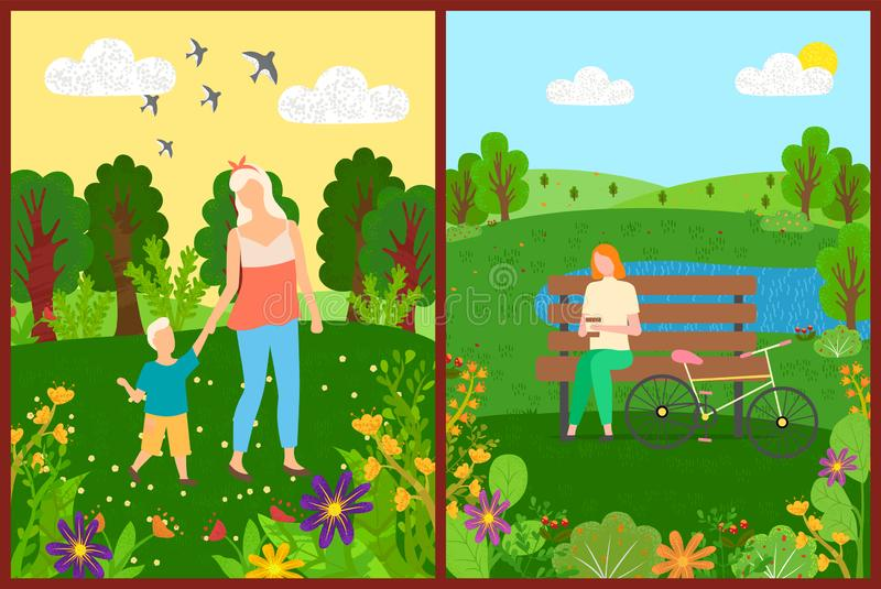 People Leisure in Park, Flowers and Trees Vector. Mom and son walking in park, woman character sitting on bench with bicycle, flowers and trees, leisure of stock illustration