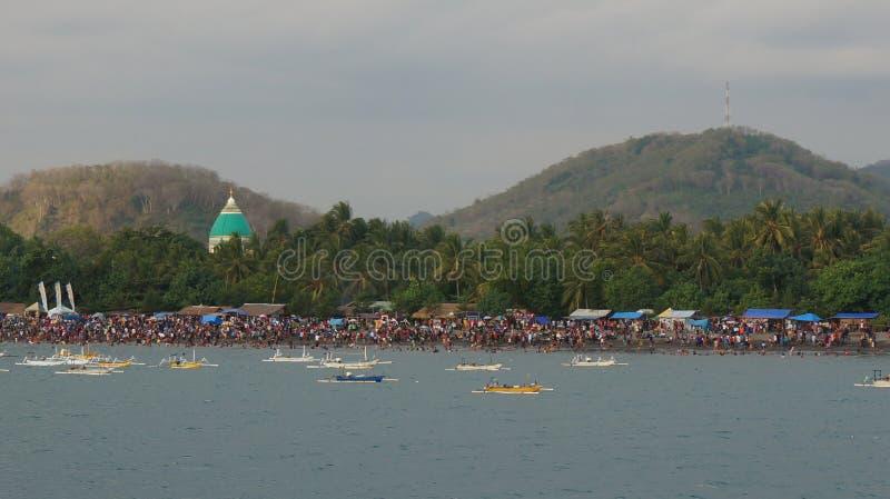 People at The Lembar Beach royalty free stock photo
