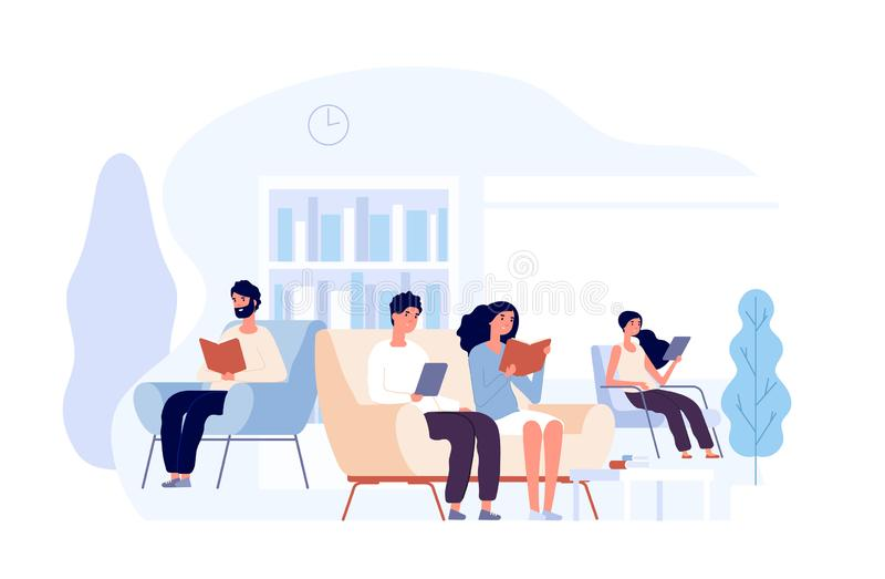 People in library. Persons reading books sitting on chair. Students studying college knowledge in university library. Vector concept. College library with stock illustration