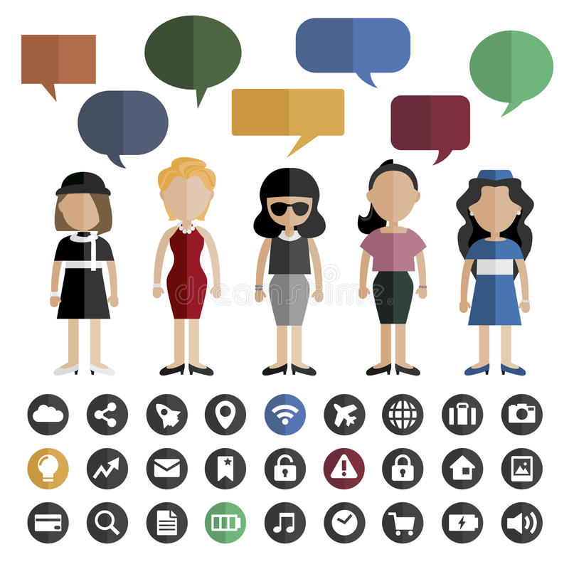 People Lifestyle Contemporary Icon Vector Concept.  stock illustration