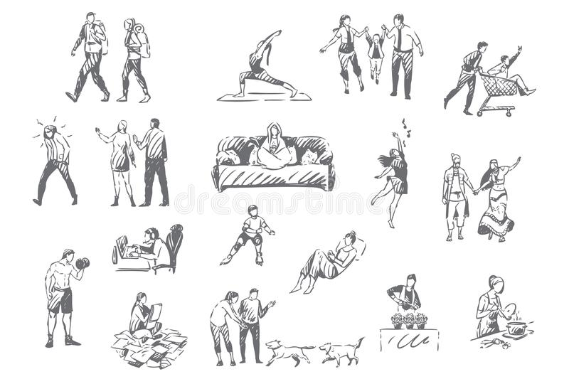 People lifestyle, personal leisure concept sketch. Introvert and extrovert pastime, hiking, fitness and yoga, computer gaming, plant nursing, various vector illustration