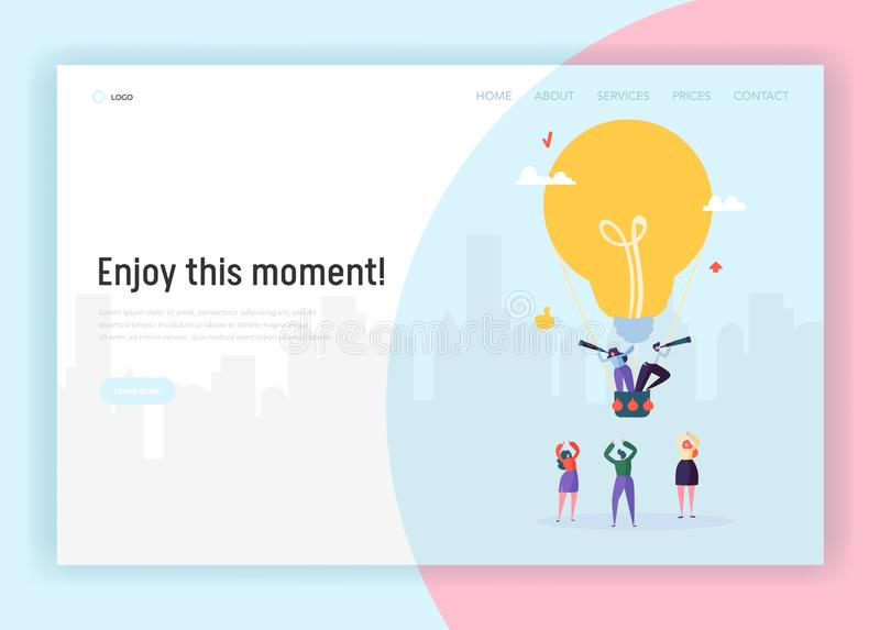 People on Lightbulb Flying Airballoon Looking for Business Idea Concept Landing Page. Male and Female Character Creative Solution. People on Lightbulb Flying vector illustration
