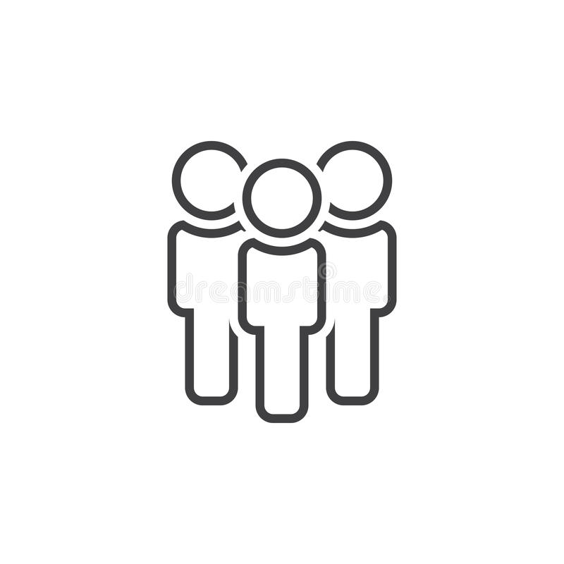 People line icon, team outline logo illustration, linear royalty free illustration