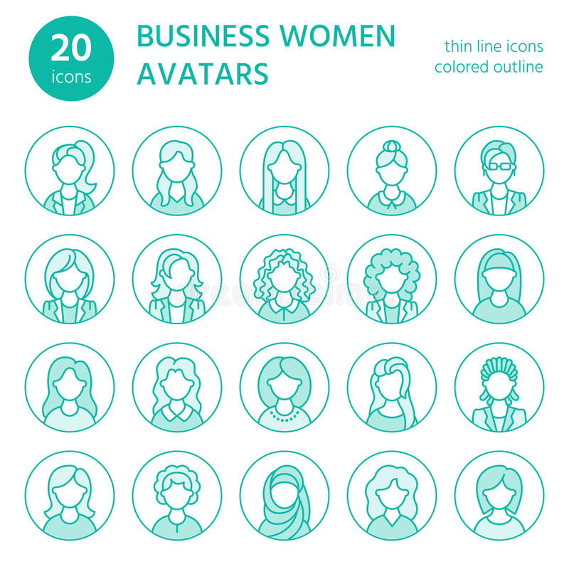 People line icons, business woman avatars. Outline symbols of female professions, secretary, manager, teacher, student vector illustration