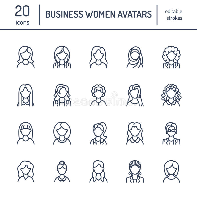 People line icons, business woman avatars. Outline symbols of female professions, secretary, manager, teacher, student stock illustration