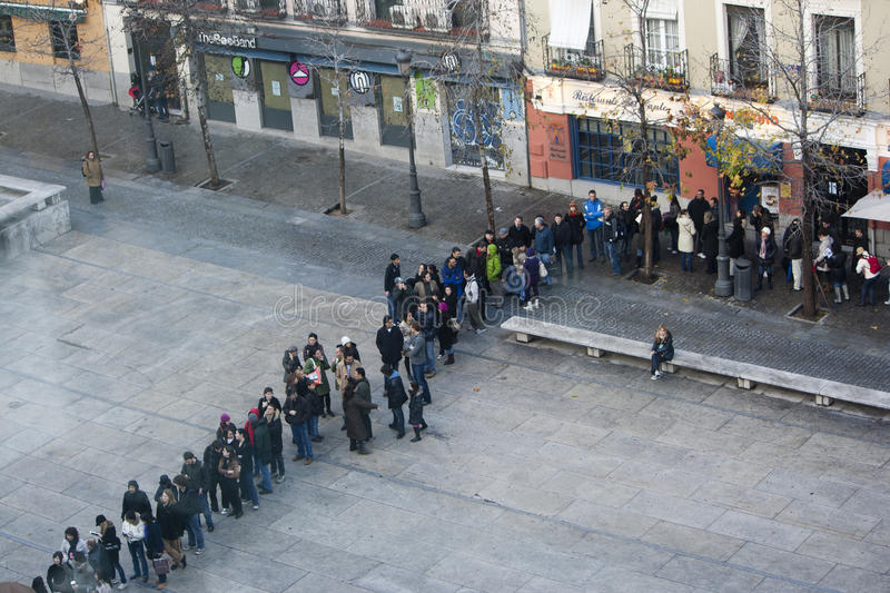 People in line at Reina Sofia museum, Madrid stock photo