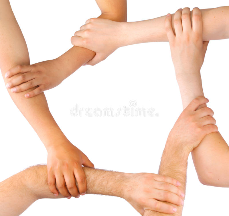 People linking hands in teamwork royalty free stock image