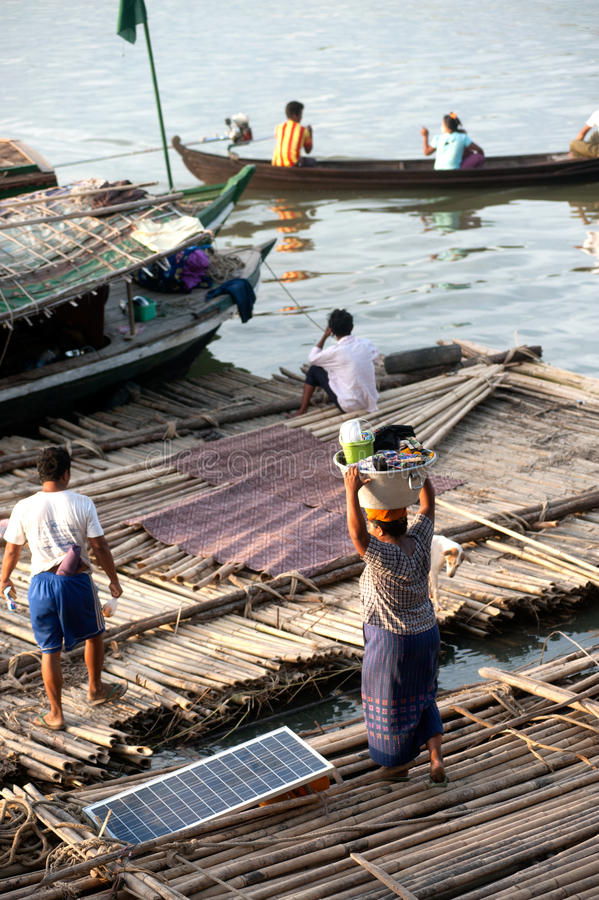 People living bamboo raft. royalty free stock images